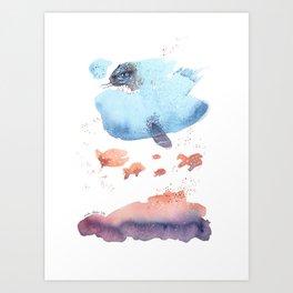 Cloud fish the Boogie Man - Fantasy Worlds - Watercolor Art Print
