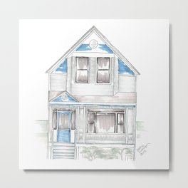 Blue Folk Victorian House Metal Print