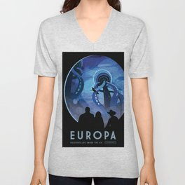 NASA Retro Space Travel Poster #4 - Europa Unisex V-Neck