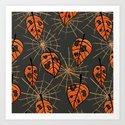 Orange Leaves With Holes And Spiderwebs by borianagiormova