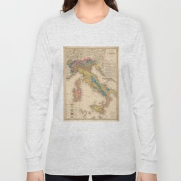 Vintage Italy Geology Map (1844) Long Sleeve T-shirt