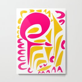 Summer Pop abstract pattern pink and yellow Metal Print