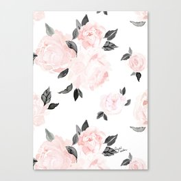 Vintage Blush Floral - BW Canvas Print