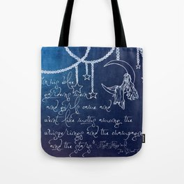 Blue Gardens and Stars Quote Tote Bag