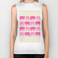nursery Biker Tanks featuring Pink Elephant Nursery Print by OldRedCanoe