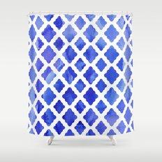 Watercolor Diamonds in Cobalt Blue Shower Curtain