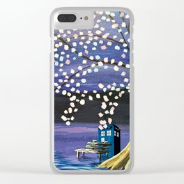 Tardis Art Alone And The Tree Blossom Clear iPhone Case