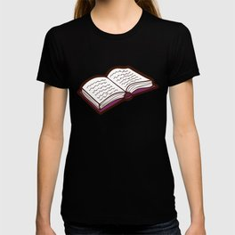 Reading Books pattern in Pink T-shirt