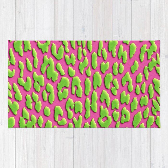 Bright Pink Green Leopard Print Rug