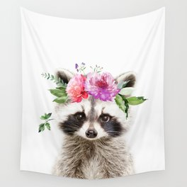 Baby Raccoon with Flower Crown Wall Tapestry