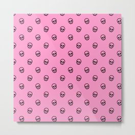 Pink Skull Pattern Metal Print