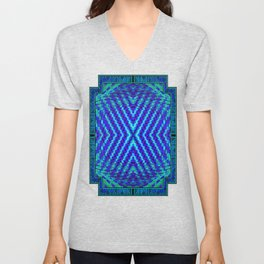 FLUX #5  Optical Illusion Vibrant Colorful Psychedelic Trippy Design Unisex V-Neck