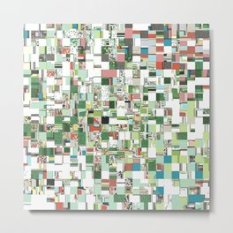 Chaotic Clusters of Green Metal Print