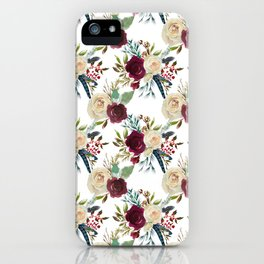 Burgundy ivory green watercolor boho floral pattern iPhone Case