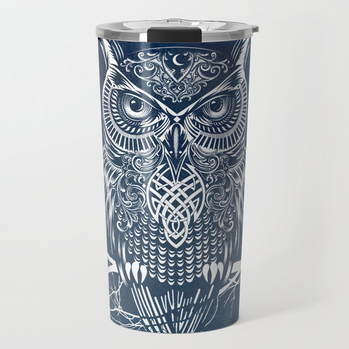 Warrior Owl Night Travel Mug