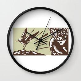 Tagaloa Looking at Plover Bird Woodcut Wall Clock