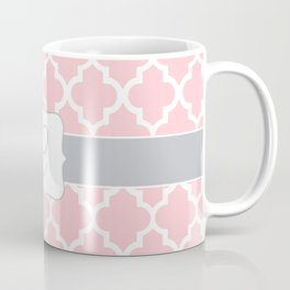 "Light Pink Moroccan Quatrefoil Pattern with ""C"" Monogram Coffee Mug"