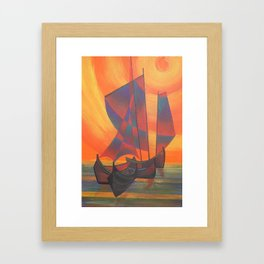 Red Sails in the Sunset Cubist Junk Abstract Framed Art Print