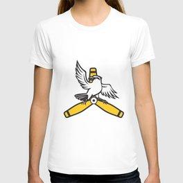 Shrike Perching Propeller Blade Retro T-shirt
