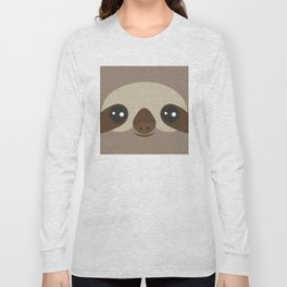 funny and cute smiling Three-toed sloth on brown background Long Sleeve T-shirt