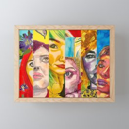 Female Faces Portrait Collage Design 1 Framed Mini Art Print