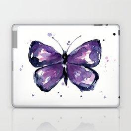 Purple Butterfly Watercolor Abstract Animal Art Laptop & iPad Skin