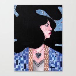 Blue(Klimt Inspired) Watercolor Painting by Grimmiechan Canvas Print