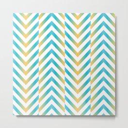 Chevron herringbone zig zag pattern in blue and yellow Metal Print
