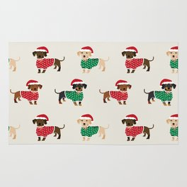 Dachshund christmas sweater holiday santa hat doxie dachsie lovers Rug