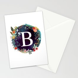 Personalized Monogram Initial Letter B Floral Wreath Artwork Stationery Cards