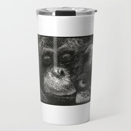 Orangutan Mother and Baby Scratchboard Travel Mug