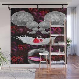 Lapping At Moon Cream Wall Mural
