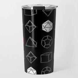 Black Dungeons and Dragons Dice Set Pattern Travel Mug