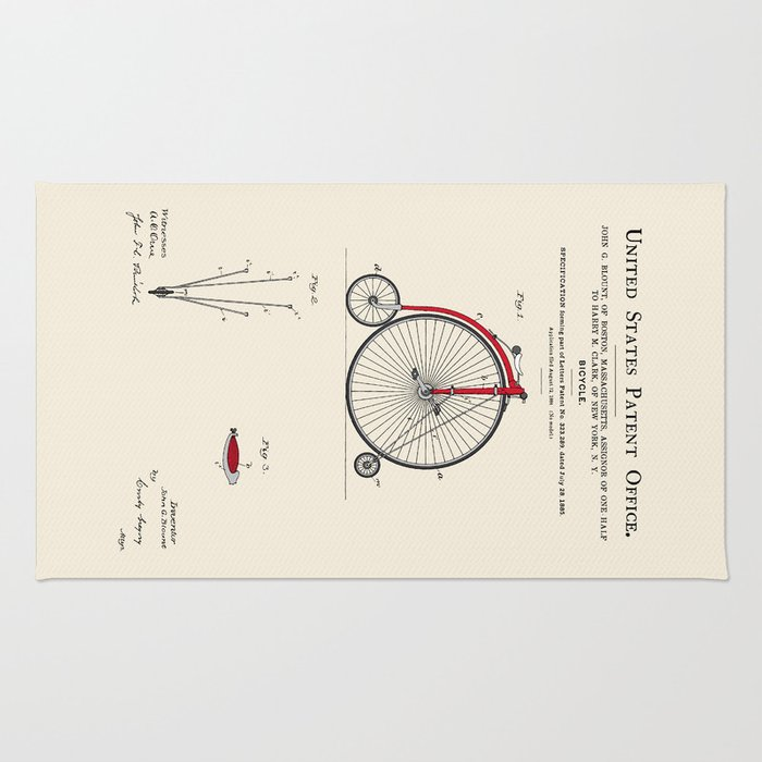 High Wheel Bicycle Patent Rug
