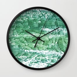 Sea green streaked watercolor pattern Wall Clock