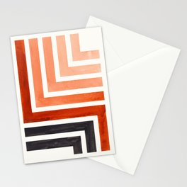 Burnt Sienna Mid Century Modern Watercolor Colorful Ancient Aztec Art Pattern Minimalist Geometric P Stationery Cards