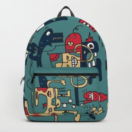 Turkoise Doodle Monster World Backpack