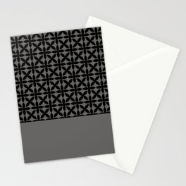 Black Square Petal Pattern on Pantone Pewter Stationery Cards