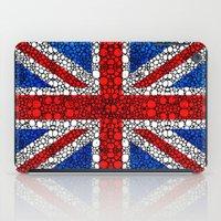 british flag iPad Cases featuring British Flag - Brittain England Stone Rock'd Art by Sharon Cummings