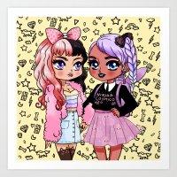 Pastel Friends  Art Print