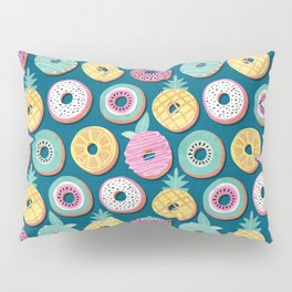 Undercover donuts // turquoise background pastel colors fruit donuts Pillow Sham
