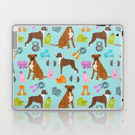 Boxer dog pattern fitness dog lover pet portraits boxers dog breed by pet friendly Laptop & iPad Skin