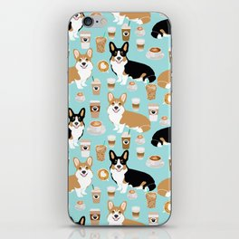 Corgis and coffee pillow phone case corgi gift cute cardigan corgi art iPhone Skin