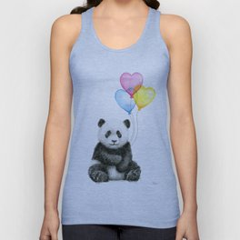 Panda Baby with Heart-Shaped Balloons Whimsical Animals Nursery Decor Unisex Tank Top