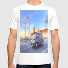 Westminster Bridge And The London Eye Mens Fitted Tee MEDIUM White