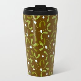Rustic Mistletoe - Bg. Wood Travel Mug