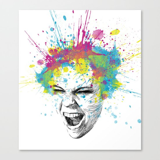 Crazy Colorful Scream Canvas Print