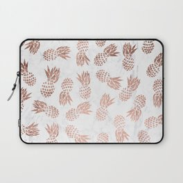 Modern faux rose gold pineapples white marble pattern Laptop Sleeve