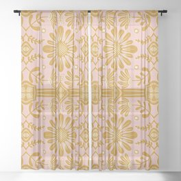 Boho Florals Yellow White Pink Sheer Curtain