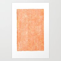 orange Art Prints featuring Stockinette Orange by Elisa Sandoval